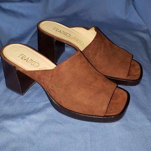 Rich brown suade, open toe heels.
